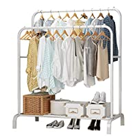 UDEAR Garment Rack Freestanding Hanger Double Rods Multi-functional Bedroom Clothing Rack