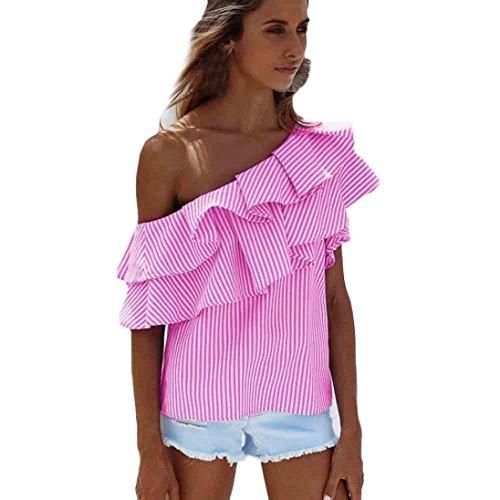 PINEsong 2017 Damen Frau Lose Eine Schulter Tops Bluse Hemd Sommer Beiläufig Gestreift T-Shirt (Rosa, XL) (Bio Baumwolle Popeline-hemd)