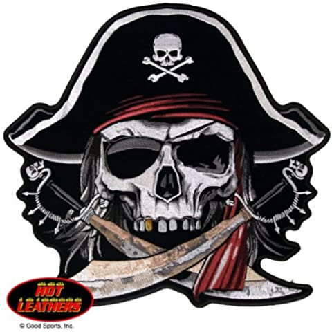 Hot Leathers, PIRATE SKULL, High Thread Embroidered Iron-On / Saw-On, Heat Sealed Backing Rayon XL PATCH - 11