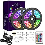 10M RGB LED Strip, LED Streifen 300 LEDs Lichtband, 12V 5A Farbwechsel LED Streifen mit Fernbedienung, Netzteil Controller, Selbstklebend 5050 LED Band für Zimmer, Weihnachten Party Deko
