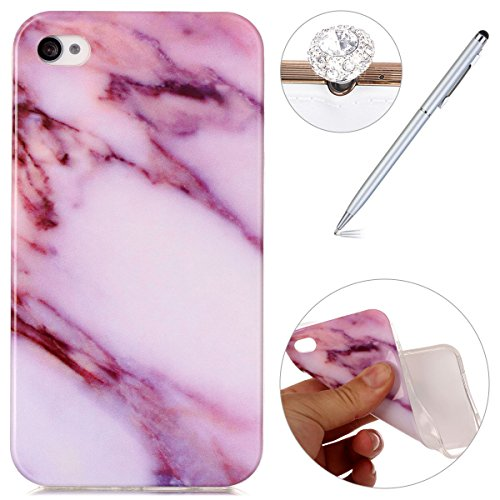 iPhone 4 Case,iPhone 4S Hülle - Felfy Apple iPhone 4/4S Ultra Slim Ultradünn Case Soft Gel Flexibel TPU Silikonhülle mit Bling Sternchen Gradient Farbe Design Protective Scratch Resistant Bumper Case  Marmor Lila