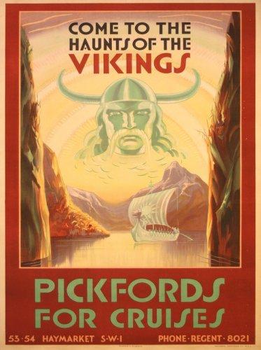 Vintage de viaje Escandinavia Come to the atormenta de los vikingos con PICKFORDS de cruceros, 1938. 250gsm brillante Art Tarjeta A3reproducción de póster