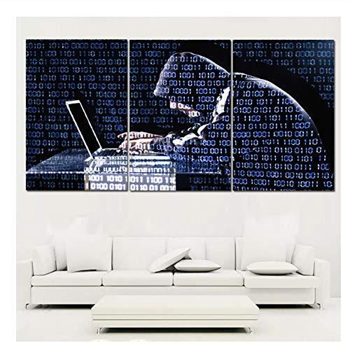 nr Cyber   Computer Worked by Man Kunst Gemälde Abstrakt Leinwand Wandkunst Dekor Gemälde Druck auf Leinwand-50x75cmx3pcs Kein Rahmen
