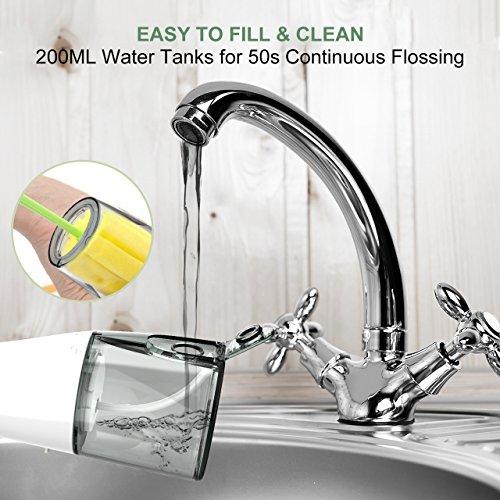 THZY Irrigador Dental Profesional Irrigador Bucal Portátil Impermeable IPX7 Water Flosser con Tanque de Agua Desmontable de 200ml Irrigador Oral con 3 Modos de Limpiar para Hogar y Viajar