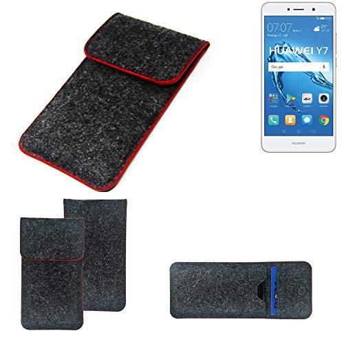 K-S-Trade® Filz Schutz Hülle Für -Huawei Y7 Dual SIM- Schutzhülle Filztasche Pouch Tasche Case Sleeve Handyhülle Filzhülle Dunkelgrau Roter Rand