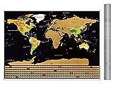 VDROL Scratch World Map 23.48 * 23.8in Los Lugares Que ha Visitado, Tarjeta de Viaje para Viajeros/Exploradores/Recolectores, etc.