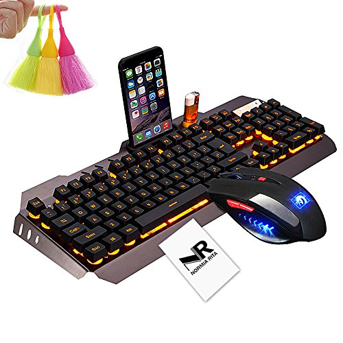 Normia Rita Mamba Mechanical Touch Keyboard and Mouse Combo Orange Backlight Wired Keyboard Gaming Internet Cafes LOL - Metal Gray