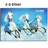 alles-meine GmbH 3-D Effekt _ Unterlage -  Tiere - Weiße Pferde / Schimmel  - inkl. Name - 40..