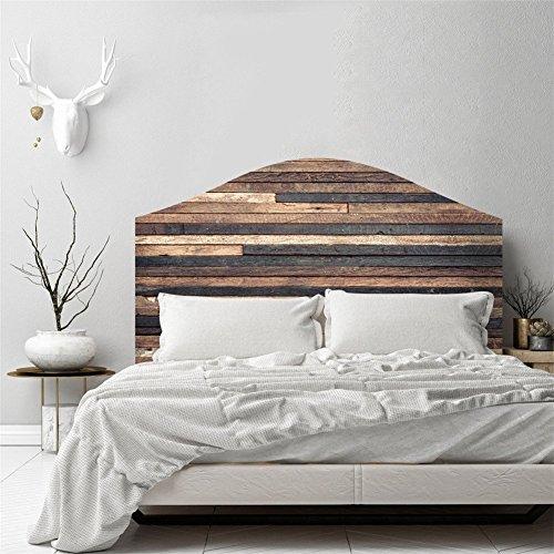 AmazingWall 3D Vintage Holz Effekt Schlafzimmer Wand Aufkleber Kopfteil Decor Selbstklebende Aufkleber Abnehmbarer Wasserdicht King Size -