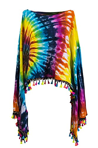 CCcollections Krawatte Groovy Colors 2in1 Poncho Wrap Böhmische Hippie Festival Beachwear (Colourful Bright)