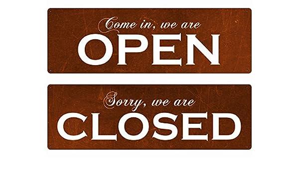 METALLSCHILD Blechschild WENDESCHILD OPEN CLOSED ROST Türschild Laden Geschäft