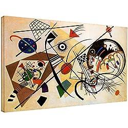Cuadro de Kandinsky Línea ininterrumpida-WASSILY Kandinsky línea ininterrumpida lona de la impresión de la lona con o sin marco-elija el tamaño que usted prefiere de-cm 50 a 130 cm de ancho (CUADRO CON MARCO DE MADERA, CM 50X31)