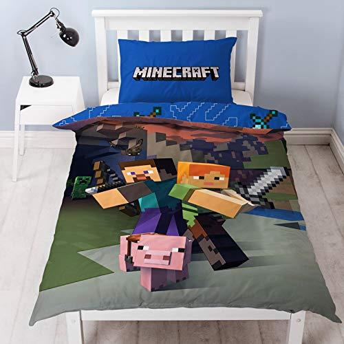 Minecraft - Wendebettwäsche-Set, Polyester-Baumwoll-Mischung, Blau, Einzelbett - Blaue Baumwolle Mischung