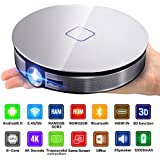 CANGSIKI D8S LED Android 6.0 Smart Projector,True 3D Home Theater Protable Video Projector Support 4K 1080P Video Play Octa-core RK3368 CPU With GooglePlay/Netflix/YouTube/Kodi/LiveTV