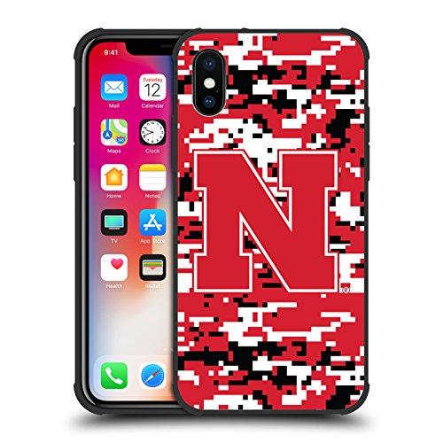 Head Case Designs Offizielle University of Nebraska-Lincoln UNL Digitale Tarnung Schocksicher Matt Schwarz Hülle für iPhone X (University Nebraska)