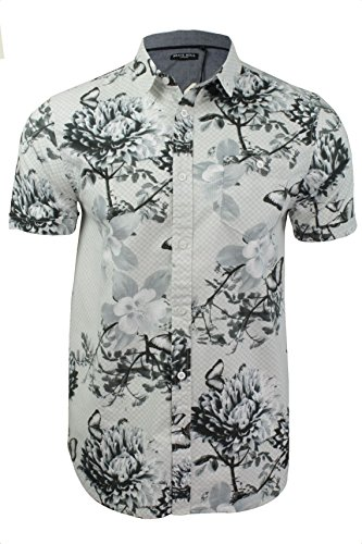 Brave-Soul-Camisa-casual-Floral-Clsico-Manga-corta-para-hombre