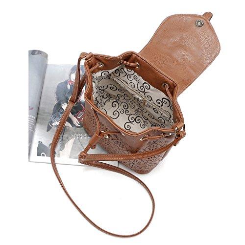 MagiDeal Frauen pu Leder Umhängetasche Handtasche Schulter Tote Messenger Crossbody Tasche - Weiß Braun