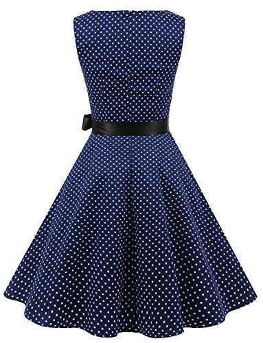 Gardenwed Damen Vintage 1950er PartyKleid Rockabilly Ärmellos Retro CocktailKleid Navy Small White Dot