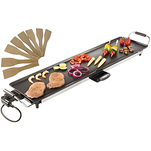 VonShef Electric XXL Teppanyaki Style Barbecue Table Grill Griddle with Adjustable Temperature Control and 8 Spatulas, 2000 Watts