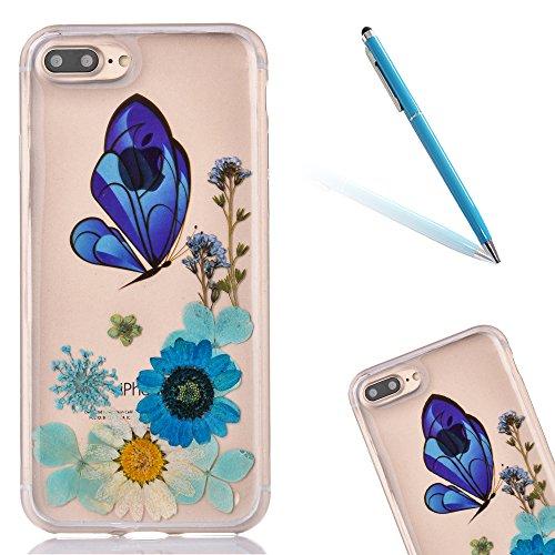 "iPhone 7Plus Handyhülle, CLTPY iPhone 7Plus Transparent Klare 3D Motiv Fall, [Ultra Hybrid] Echte Getrocknete Blumen Series Etui, Dünne Stoßfest Gummi Case für 5.5"" Apple iPhone 7Plus (Nicht iPhone 7) Floral 15"