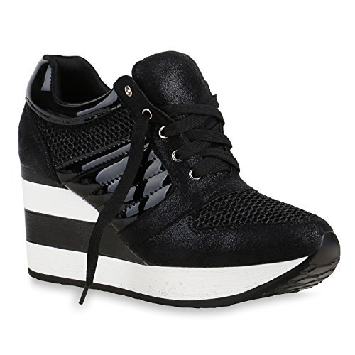 Damen Sneakers | Sportschuhe Lack Glitzer | Sneaker Wedges Metallic Pailetten | Plateauschuhe Kroko Camouflage | Keilabsatz Schuhe Schwarz