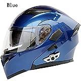 lente doble antivaho Casco elegante modular de Bluetooth para motocicleta con visor doble casco de emergencia para carreras de motos scooter con auricular y micr/ófono incorporados,M 57~58CM