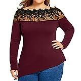 Große Damenbekleidung SHOBDW Damen Mode Elegant Einfarbig Spitze Patchwork Unregelmäßige Saum Tops Shirts Frasuen Einfachheit Dünn Übergröße Pullover Bluse Sweatshirt