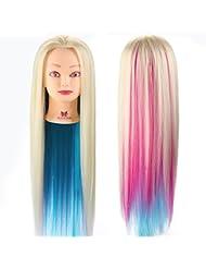 Neverland Têtes à Coiffer Arc en Ciel Synthetiques Cheveux avec Pince #14