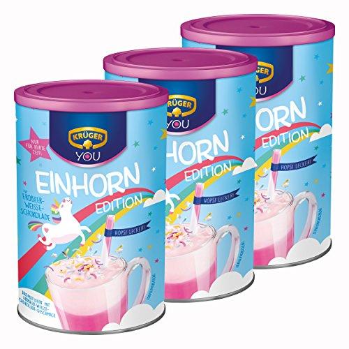 Krüger You Einhorn Edition, Typ Erdbeer-Weiße-Schokolade, Trinkschokolade, Getränkepulver, Schokogetränk, Kakao, 3 x 300g