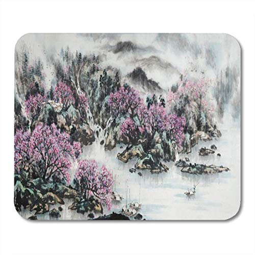 Deglogse Gaming-Mauspad-Matte, Ink Green Blossom Landscape Painting Traditional Chinese Pink Cherry Mouse Pad, Desktop Computers mats -