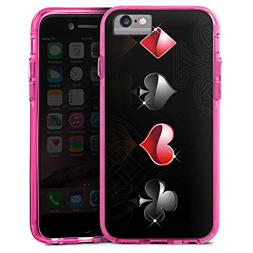 Apple iPhone 6s Plus Bumper Hülle Bumper Case Glitzer Hülle Herz Heart Kreuz Bumper Case transparent pink