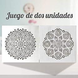 Conjunto de 2 Cuadro Mandala de Pared Calada, Fabricada artesanalmente en España- Mandala 3D Cuadrada Pintada a Mano- Modelo Mosaico 123 y 125 (Blanco Envejecido, 50x50 cm)