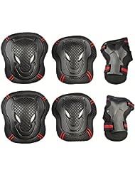 Kit de protections 6 pièces - Protège-paume Coudière Genouillère de Skateboard,Vélo,Roller,Patin à Glace Unisexe S M L