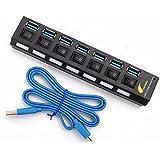 ONCHOICE USB 3.0 Datenhub 7 Ports Mit 100cm USB Kabel Ultralight Verteiler Schwarz mit Diagnose ...