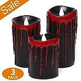 Halloween Flammenlose Kerzen, LED Kerze Teelichter mit Timer, Blutenden Kerzen mit 2 Modi Betrieb, Echtwachskerze für Home Decor & Festival Dekorationen, 3 Pack