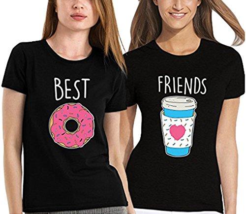Best Friends T shirt Pour 2 fille impression des Donuts et café intéressant femmes à manches courtes par JWBBU® (Best-S+Friends-S, Noir)