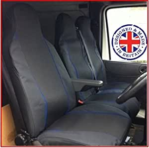 Peugeot Expert 1996–2006 2.0 Hdi Van 110 housses de siège simple + Double conducteurs de housses de Passagers Siège noir Passepoil bleu