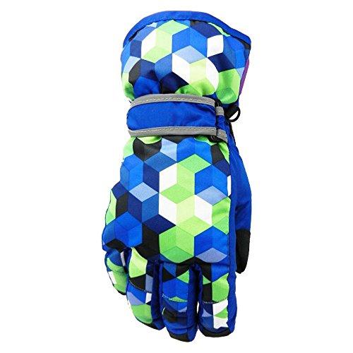 Eastlion Bunte Geometrie Pattern Draussen Skifahren Warm Handschuhe Kinder Winter Handschuhe,Blau,S | 06654540413093