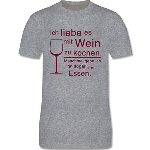 Küche - Ich liebe es mit Wein zu kochen - Herren Premium T-Shirt Grau Meliert
