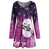 MRULIC Damen Weihnachten Blusenkleid Santa Printing Vintage Langarm Rundkragen Party Kleid Frauen Boho Mini Cocktail Party Blumenkleid(A1-Violett,EU-40/CN-M)