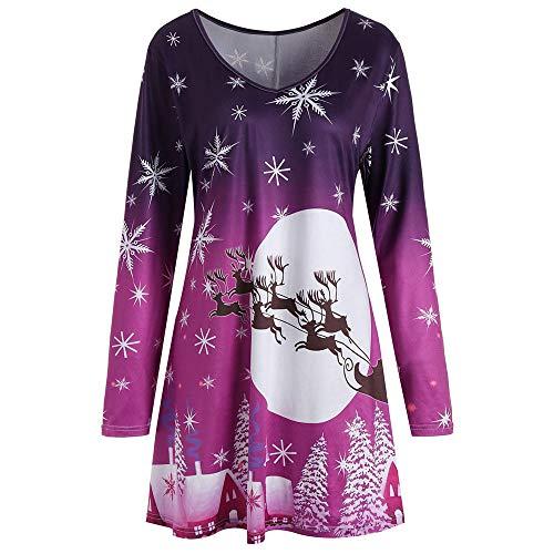 SEWORLD Weihnachten Retro Christmas Weihnachtsfrauen Frauen Langarm Weinlese Weihnachts Weihnachtsdruck Rundhals Partei Kleid(X4-violett,EU-40/CN-2XL)