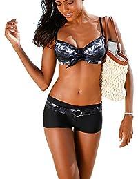 ASSKDAN Femme Bikini 2 Pieces Imprimé Set soutien-gorge à Bretelle Push-up Maillot de bain Shorty