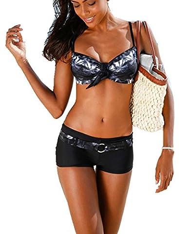 ASSKDAN Femme Bikini 2 Pieces Imprimé Set soutien-gorge à Bretelle Push-up Maillot de bain Shorty (M, Noir)