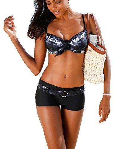 ASSKDAN Damen Bademode Bikini-Sets Push-up Gepolstert Drucken Mit Shorts (M, Schwarz)