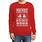 Merry Christmas Bitches Rot Medium Sweatshirt Weihnachtspullover - Lustiger Weihnachtspulli