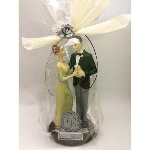 Figure silver wedding cake 25 anniversary ENGRAVED / PERSONALIZED figures for cake or gift