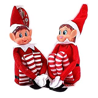 GLOW Naughty Little Xmas Elf - Elfie (Boy) and Elvie (Girl) Set - Fun and Playful Elves Behavin' Badly Figure with Soft Body and Vinyl Face – Hook and Loop Grip Hands for Causing Mischief and Mayhem Around the Home House – Traditional Christmas Family Fun with Magical Santa Scouts Elfie and Elvie Toy Plush Teddy Pranks Tricks Cheeky Boy Girl (Set of 2)