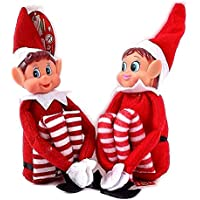 GLOW Set of 2 Naughty Little Xmas Elves - Playful Elf Figure with Soft Body, Vinyl Face, Hook and Loop Grip Elves Behavin' Badly Christmas Family Elfie Elvie Toy Boy Girl
