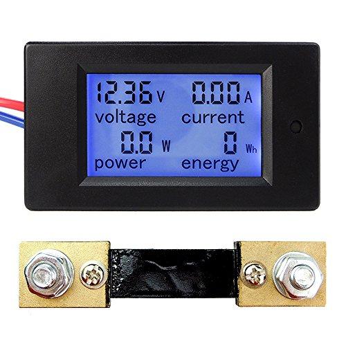 uniquegoods DC6.5-100V 4 en 1 Pantalla LCD digital medidor de energía de corriente de alimentación de voltaje del multímetro del amperímetro del voltímetro con derivación de corriente (0-100â)