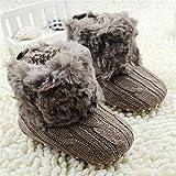 Scokmmer Warm Prewalker Stiefel-Kleinkind-M�dchen-Jungen-H�kelarbeitknit Fleece Stiefel Wolle Schnee Krippe Schuhe Winter Booties (Baby Age : 7 12 Months, Color : Chocolate)